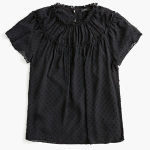 🆕J.Crew Black Gathered Bib Swiss Dot Blouse